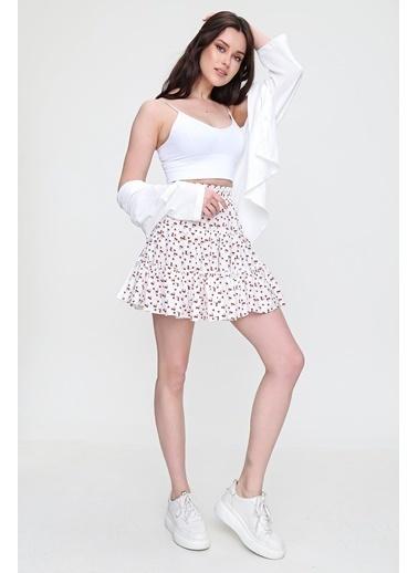 Pink Park Kiraz Desenli Fırfırlı Mini Etek SMD-X6033 Beyaz